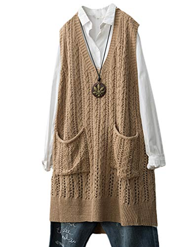 Minibee Women's Deep V-Neck Sleeveless Knitted Hi Low Sweater Vest Style2 Khaki