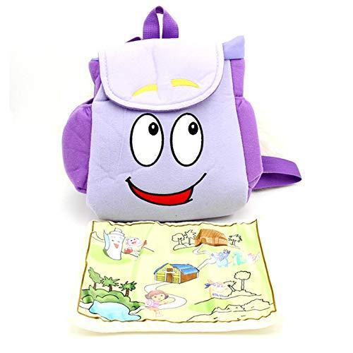 wenhe Mochila para niños, bolsa de rescate Explorer con mapa, bolsa de escuela para niños pequeños, mochila para educación de la primera infancia con mapa de Dora Explorer
