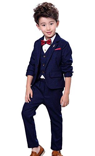 Fengchengjize Traje Niño Ceremonia Conjunto de 3 Chaleco Chaqueta Pantalones para Bautizo Boda Azul Marino 3 Años