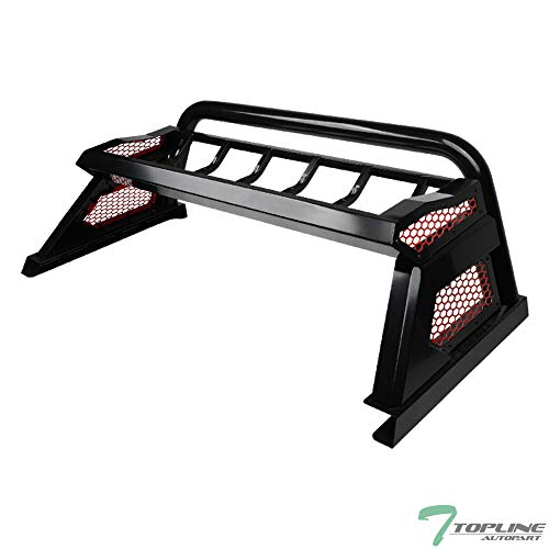 Topline Autopart Cargo Basket Carrier Rack Style Truck Bed Chase Rack Roll Bar With Red Honeycomb Mesh Cage For 15-19 Ford F150 (Textured Black)