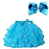 BGFKS 4 Layered Tulle Tutu Skirt for Girls with Hairbow or Birthday Sash,Girl Ballet Tutu Skirt (Blue, 5-7 Years)