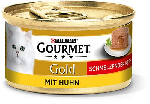 PURINA GOURMET Gold Schmelzender Kern Katzenfutter nass, mit Huhn, 12er Pack (12 x 85g)