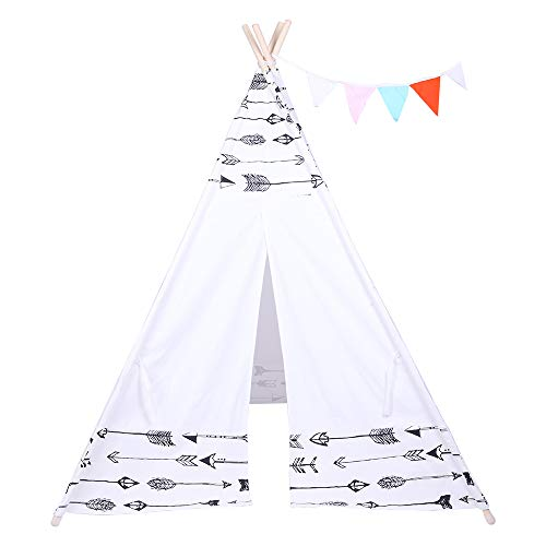 Tent Children Teepee Tent Baby Indoor Dollhouse with Small Coloured Flags roller shade and pocket Arrow Pattern, Large Cotton Canvas Indian Wigwam Playhouse Indoor (White with Black Arrow Pattern)