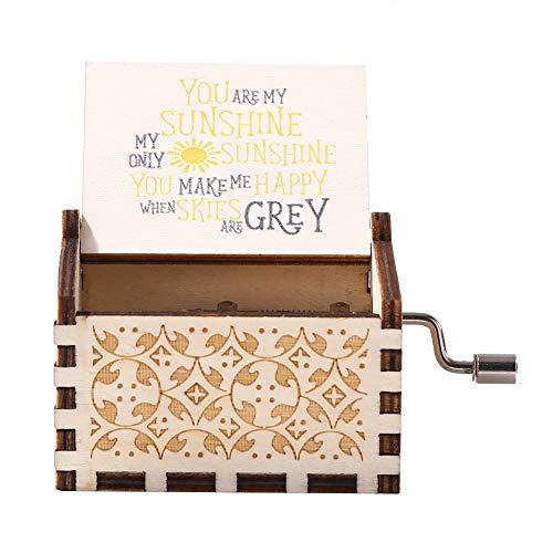 KANUBI Antique You Are My Sunshine - Caja de música de madera con manivela para regalo de cumpleaños, Navidad, día de San Valentín