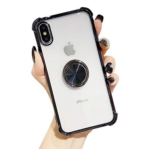 Suhctup Coque Compatible pour Huawei P40 avec Support,Etui Case Transparent Silicone TPU Gel [Angles Renforcés] Antichoc Housse Cover avec 360° Support de Voiture Magnetique,Noir