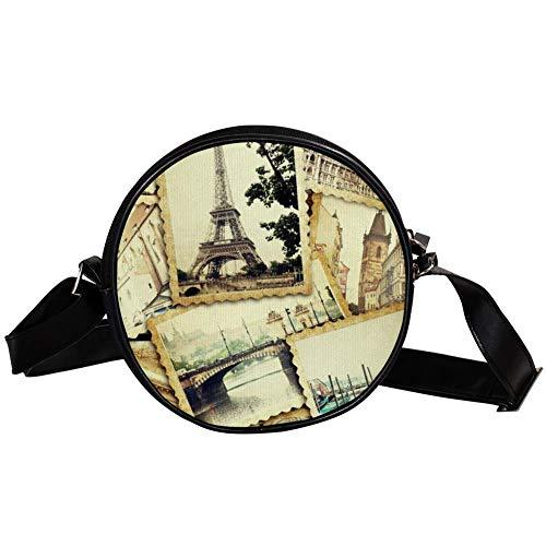 Bennigiry Damen Umhängetasche Eiffelturm Antiker Stempel Rund Umhängetasche Top Handtasche