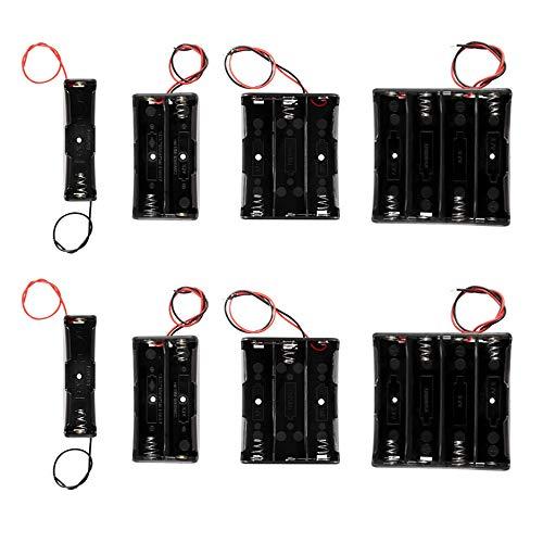 18650 Batteriehalter, 8 Stück Batteriehalter Bundle mit Draht, 4 Arten von AA Batteriehalter mit Kabel, 1+2+3+4 Slots Batteriegehäuse Halter Bundle