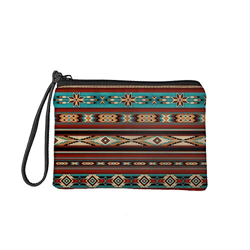 Aulaygo Women Coin Purse Change Wallet African Ethnic Tribe Baja Style Coin Pouch Card Cash Lipgloss Holder Clutch with Wristlet Strap and Zipper Durable
