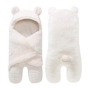 Saco de Dormir recién Nacido niño niña Linda Manta de Lana Envuelta Adecuada para 0-12 Meses bebé Beige Modelado de…