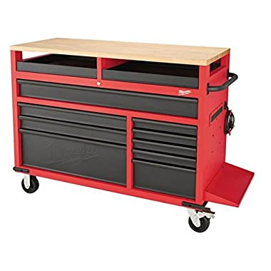 Milwaukee 48-22-8552 52-Inch 11-Drawer Mobile Work Bench with Wood Top Toolbox Tool Chest Cabinet Box