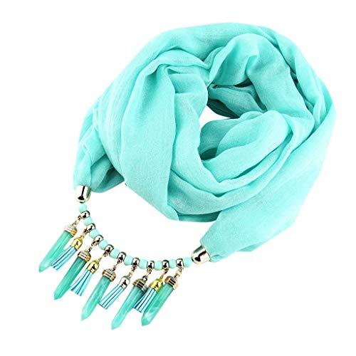 Kelry Schal Baumwolle Solide Quaste Schals Ethnische Halskette Schmuck Anhänger Frauen Turban Weich Damenschal Tuch La Sciarpa(One Size,Blau)