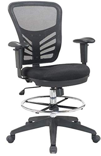 Mesh Back Ergonomic Lumbar Support Drafting Chair - 360 Degree Swivel 330lb Capacity Black with Chrome Plated Tubing - Sponge Seat Cushion (Drafting Chair)