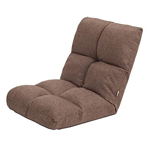 HLY Silla con respaldo, sofá cama de tela Sofá cama con cojines Respaldo ajustable Sillón de salón Sillón extraíble y lavable con piso acolchado Durable,marrón