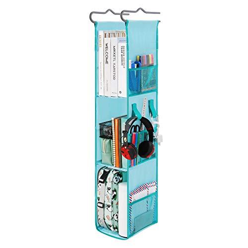 "Magicfly Hanging Locker Shelf for School, Adjustable Locker Ladder for Work, Gym Storage,3 to 2 Shelves Closed Back Hanging Locker Organizer 20-38"" Tall 5.5"" Wide 8.9"" Deep, Blue with Green Trim"