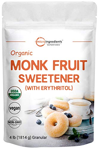 Organic Monk Fruit Sweetener with Organic Erythritol Granules, 1:1 Sugar Substitute, 4 Pounds (64 Ounce), Natural Sweetener for Smoothie, Drinks, Coffee, Tea, Cookies and More, Premium Monk Fruit Keto Diet, Vegan