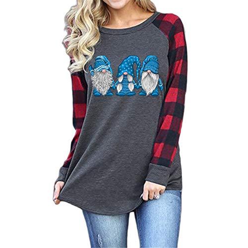Herbst Und Winter Weihnachten Damenhemd Weihnachtsbaumdruck Rundhalsausschnitt Raglan Langarm T-Shirt