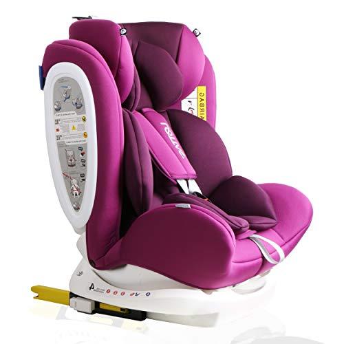 LETTAS Seggiolino auto gruppo 0+1/2/3 Fascia d'età: Bambini da 0 mesi a 12 anni - da 0 a 36 kg,reclinabile 4 posizioni - protezioni laterali - poggiatesta regolabili ECE R44/04 (906-Viola)