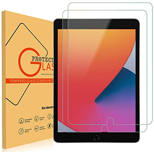 2 Pack Compatiable for iPad 10.2 2020 Screen Protector, iPad 8 (10.2-Inch, 2020 Model, 8th Generation) Tempered Glass