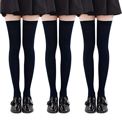 YSense 3 paires Chaussettes Hautes Montantes Femme Chaussettes de Genoux Longues,Noir,Taille Unique