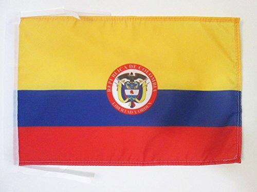 AZ FLAG Flagge KOLUMBIEN MIT Waffen 45x30cm mit Kordel - KOLUMBIANISCHE Fahne 30 x 45 cm - flaggen Top Qualität