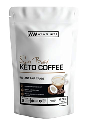 My Wellness - Super Bullet Keto Coffee   Bulletproof Ketogenic Coffee   Supports Energy, Weight Loss and Metabolism   with MCT Oil, Butter Powder and Grass Fed Collagen   15 Servings   8 oz