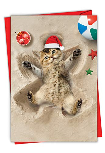 Holiday Sand Angels Cat - Cute Cat Merry Christmas Card with Envelope (4.63 x 6.75 Inch) - Tropical Beach Fun, Happy Holiday Greetings for Kids, Adults - Stationery Note Card for Xmas C6844BXSG