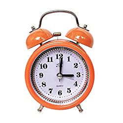 joyMerit Loud Alarm Clock Quartz Analog Twin Bell Retro Non-Ticking Silent Clock - Orange, 12x8x5cm