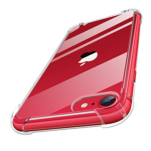 MoKo Compatible with iPhone SE 2020 Case/iPhone 8/7 Case, Clear Reinforced Corners TPU Bumper + Anti-Scratch Transparent Hard Panel Cover Fit iPhone SE / 8/7, Crystal Clear