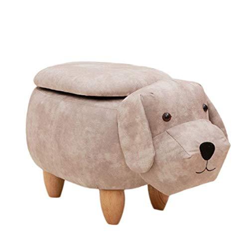 CFJJOAT Cute Little Dog Shaped Aufbewahrungshocker, nordischer Cartoon-Stil Tier aus Holz einfarbig Stoff Hocker Fußstütze Stuhl Kinderhocker 25,6 x 13,7 x 14,1 Zoll