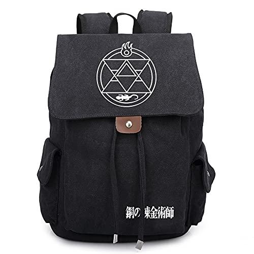 SHU-B Fullmetal Alchemist Mochila Escolares Juveniles para Mochila Unisex de Carga USB Backpack Resistente Al Agua Universitaria Daypacks para Mujeres Hombres