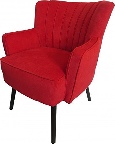 Casa Padrino Retro Salon Sessel Rot/Schwarz - Cocktailsessel 60er Jahre Stuhl