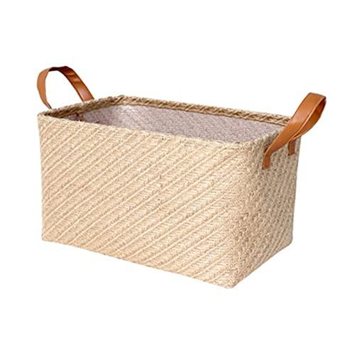 Cesta de almacenamiento de juguetes, plegable rectangular de tela con asas para estantes, organizador de lona cesta de almacenamiento decorativa (color: B, tamaño: grande)