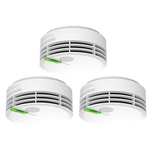 Hekatron 31-5000020-13-01 Rauchmelder Genius PLUS mit integrierter Batterie (10 Jahre Lebensdauer) – Inkl. 3 x Klebepad – App-unterstützt – Rauchwarnmelder in Weiß – 3er Set
