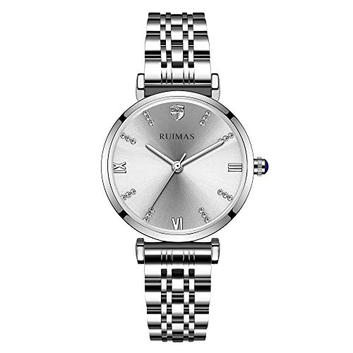 Women's Silver Watches for Women Wrist Watches Analog Quartz Movement Watch for Women Girls Crystal Bracelet Stainless...