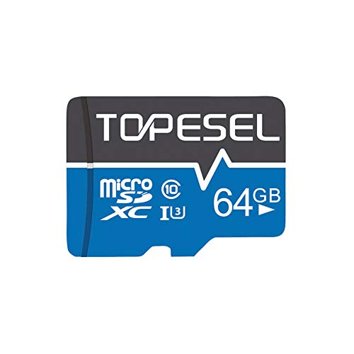 Tarjeta Micro SD 64GB, TOPESEL Tarjeta Memoria Alta Velocidad 85 MB/s SDXC Mini Tarjeta TF para Móvil, Tablet, Cámara, Tarjeta microSD 64GB (Class 10, U3) Azul