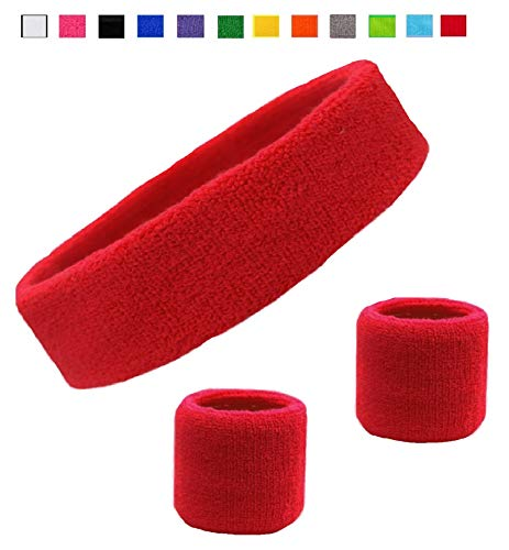 Kenz Laurenz Sweatband Set Cotton Sports Headband Terry Cloth Wristband Moisture Wicking Sweat Absorbing Head Band Athletic Exercise Basketball Wrist Sweatbands and Headbands (Red)