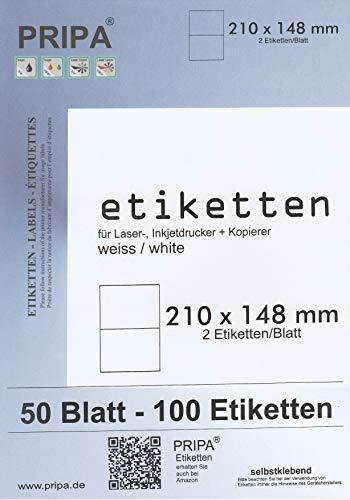 pripa Etiketten 210 x 148 mm A5-50 Blatt DIN Selbstklebende Etiketten - 100 Etiketten