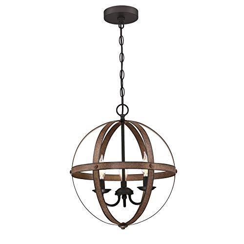 Westinghouse Lighting 6110500 Stella Mira Vintage Three-Light Indoor Chandelier Barnwood Finish with Oil Rubbed Bronze Accents