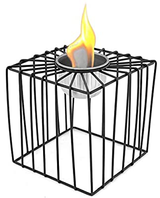 Table Fireplace Bio-Ethanol Fireplace Powder Coated Metal Table Decoration Fire Bowl Table Fire – Various Models Black – Bio-Ethanol Burner Made of Stainless Steel