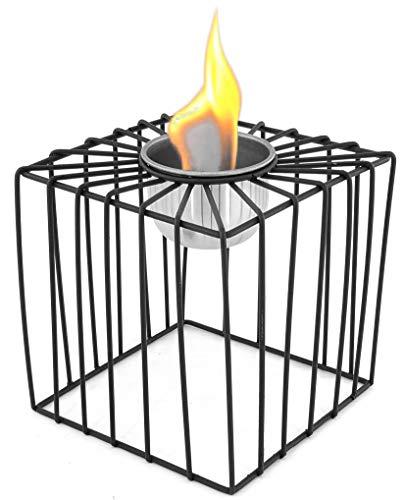Tischkamin Bio-Ethanol Kamin Pulverbeschichtetes Metall Tischdeko Feuerschale Tischfeuer - ver.Modelle-schwarz - Bio-Ethanol-Brenner aus Edelstahl (Würfel: 14,2 x 14,2 x 17,8 cm)