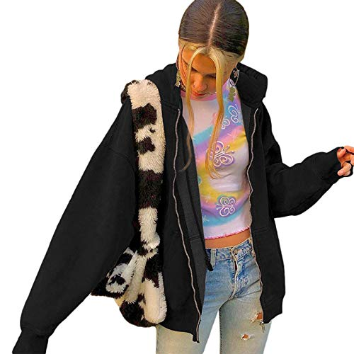 Beauace Chaqueta de mujer con capucha Oversized Vintage Zip Primavera Otoño Invierno Cálido Chaqueta de Manga Larga con Capucha Sólida Estilo Y2K, Negro , S