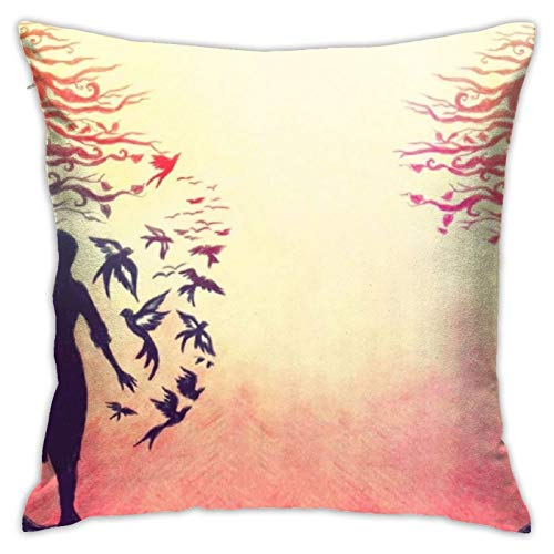 XIANMY Printed Throw Pillow Covers, Artistic Women Girl Decorative Modern Pillowcase Soft Square Cushion Case for Sofa Bed Home(18''18'')