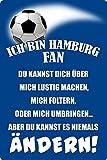 Blechschild 20x30cm gewölbt Ich Bin Hamburg Fan Spruch Deko Geschenk Schild