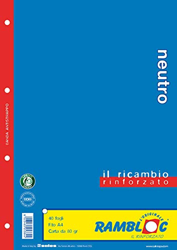 Ricambio rinforzato Rambloc Pacco da 4 Ricambi A4 Neutro (160 fogli totali)