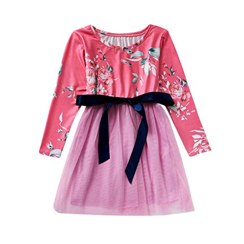 Moneycom❤Splicing Manches Longues O-Cou de Maman et Moi Girl Imprimer Floral Net Family Dress Anniversaire Chic Ceremonie Mariage 2019 Neuf Rose(0-1 Ans)