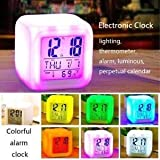 DARSY Plastic Square 7-Colour LED Changing Digital Smart Alarm Clock with Snooze