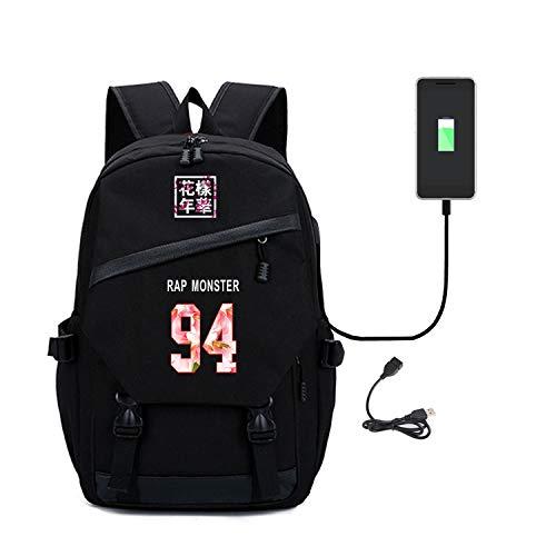 Kpop BTS Bangtan Boys Backpack with USB Charging Port Canvas Bookbag College Bag