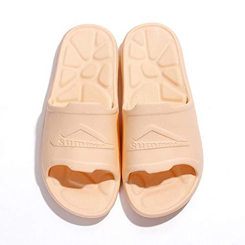 LNLJ Zapatillas de masaje antideslizantes y desodorantes, suela suave y silenciosas sandalias de verano y zapatillas para hombres y mujeres-crema color36-37