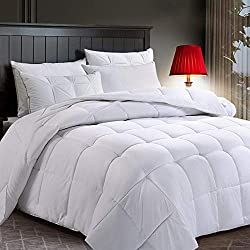 COTTONHOUSE Queen Size Cooling Comforter Fluffy Reversible Quilted Duvet Insert Down Alternative Fill with Corner Tabs All Season - Machine Washable -White