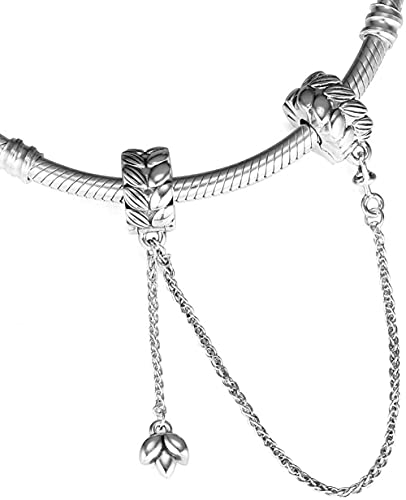 VVHN Pulsera de Acero de Titanio Granos de otoño de Cadena de Seguridad energética 925 Plata DIY se Adapta a Pulseras Pandora Originales joyería de Moda